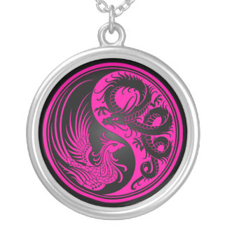 Pink and Black Dragon Phoenix Yin Yang Silver Plated Necklace