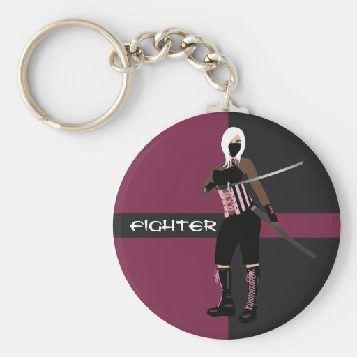 Pink and Black Female Fighter Keychain