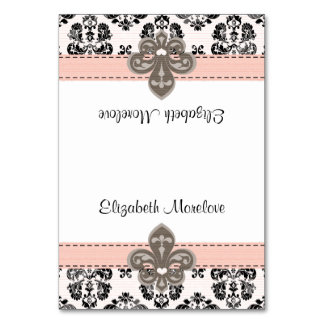 Pink and Black Fleur de Lis Tented Name Place Card