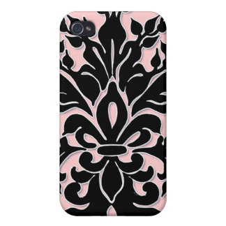 Pink and Black Fleur de Lys Iphone case Cases For iPhone 4