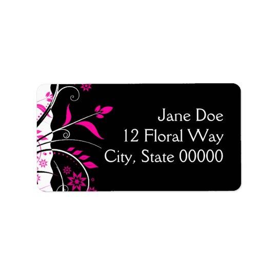 Pink and Black Floral Address Labels