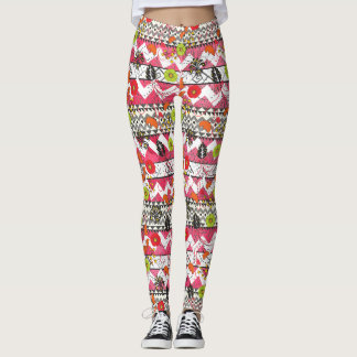 Pink and Black Floral Aztec Pattern Leggings