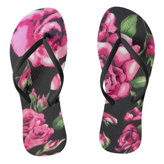 pink and black floral flip flops