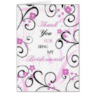 Pink and Black Flower Thank You Bridesmaid Card