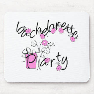 Pink and Black Flowers Bachelorette Party Mouse Pad