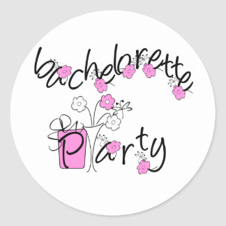 Pink and Black Flowers Bachelorette Party Stickers