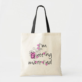 Pink and Black Flowers Bride Tshirts and Gifts Budget Tote Bag