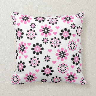 Pink and Black Flowers Throw Pillow
