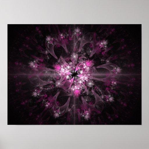 Pink And Black Fractal Pattern Print