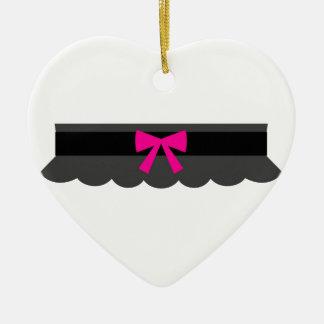 Pink and Black Garter Belt Ceramic Heart Decoration
