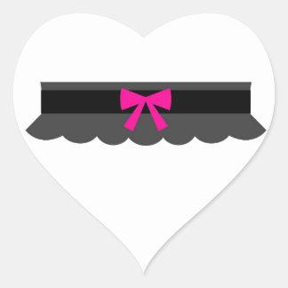 Pink and Black Garter Belt Heart Sticker