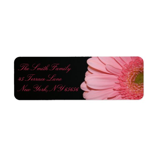 Pink and Black Gerber Daisy Return Address Labels