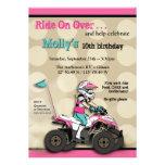 Pink and Black Girl ATV Rider Personalised Invitations