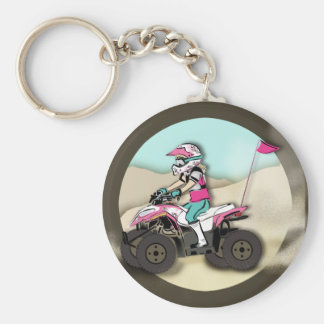 Pink and Black Girl ATV Rider Key Ring