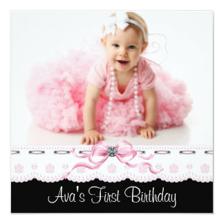 Pink and Black Girls Photo Birthday Party Personalized Invitation Cards