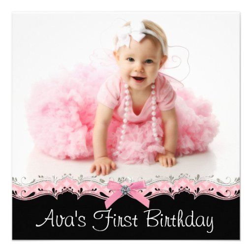 Pink and Black Girls Photo Birthday Party Announcement