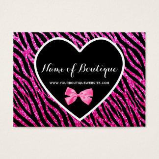 Pink and Black Glam Zebra FAUX Glitz Boutique Business Card