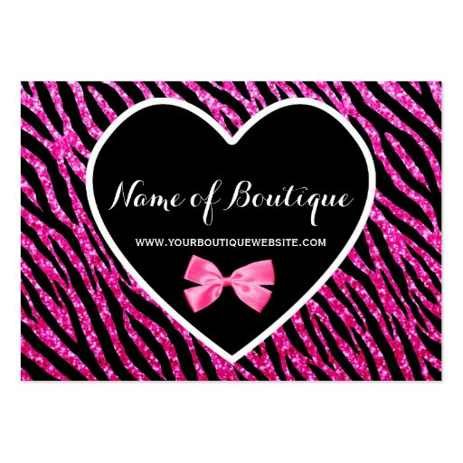 Pink and Black Glam Zebra Glitter Boutique Business Card