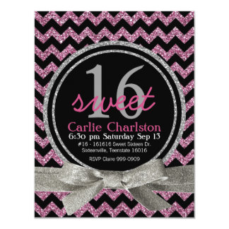 Pink and Black Glitter Look Chevron Sweet 16 Party 4.25x5.5 Paper Invitation Card