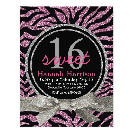Pink and Black Glitter Look Zebra Sweet 16 Party Invite