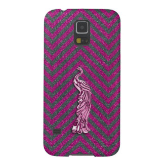 Pink and Black Glitter Peacock Galaxy S5 Cover