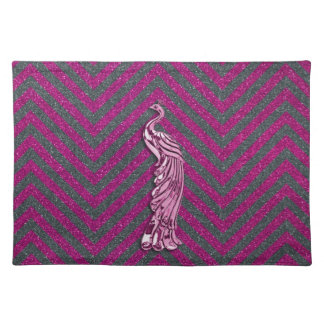 Pink and Black Glitter Peacock Placemat