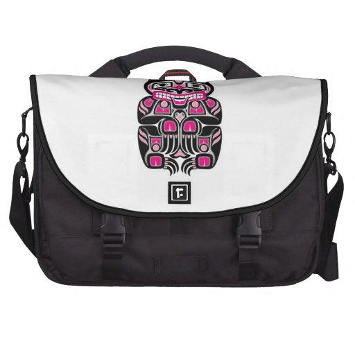 Pink and Black Haida Spirit Bear Laptop Computer Bag