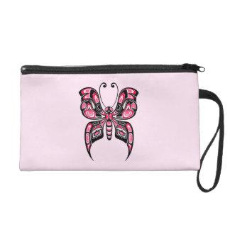 Pink and Black Haida Spirit Butterfly Wristlet Clutch