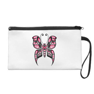 Pink and Black Haida Spirit Butterfly on White Wristlet Purses