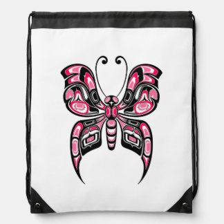 Pink and Black Haida Spirit Butterfly on White Drawstring Backpack