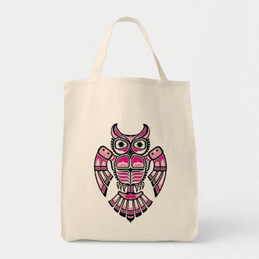 Pink and Black Haida Spirit Owl Tote Bags