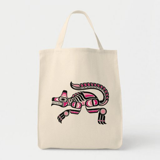 Pink and Black Haida Spirit Wolf Canvas Bag