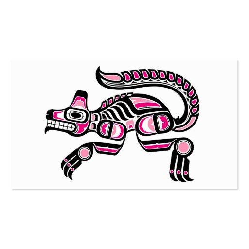 Pink and Black Haida Spirit Wolf Business Card Templates