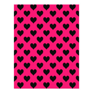 Pink and Black Heart Pattern 21.5 Cm X 28 Cm Flyer