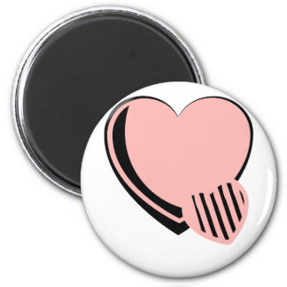 Pink and Black Hearts 6 Cm Round Magnet