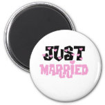 Pink and Black Hearts Just Married Fridge Magnet