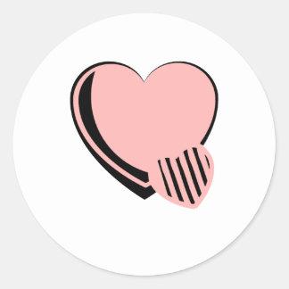 Pink and Black Hearts Round Sticker