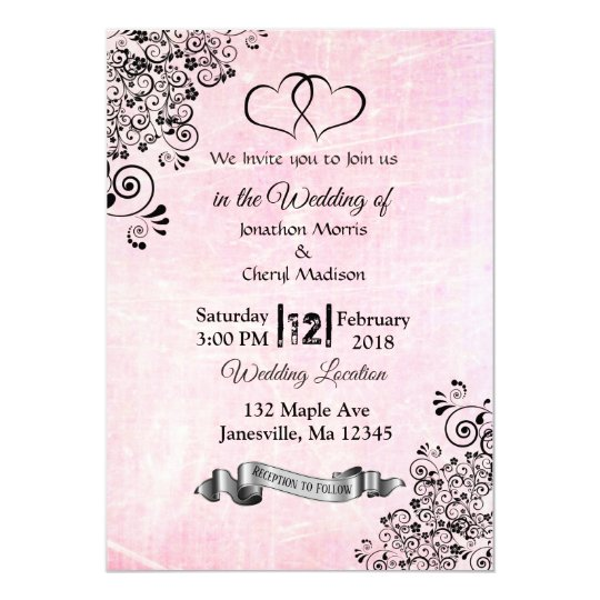 Pink and Black Hearts Wedding Invitations