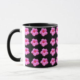 Pink And Black Hibiscus Flower, Black Coffee Mug