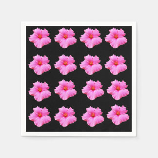 Pink And Black Hibiscus Pattern, Paper Napkins