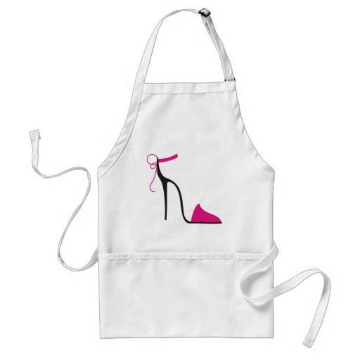 Pink and Black High Heel Shoe Strappy Aprons