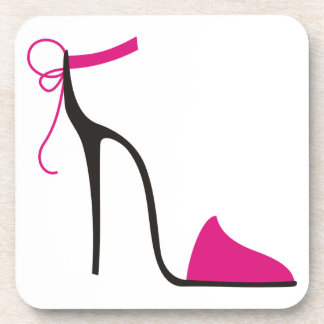 Pink and Black High Heel Shoe Strappy Beverage Coasters