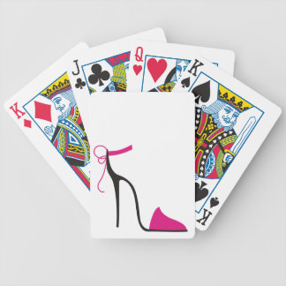 Pink and Black High Heel Shoe Strappy Bicycle Poker Deck