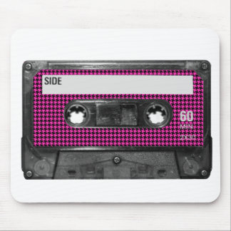 Pink and Black Houndstooth Label Cassette Mouse Pad