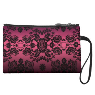 Pink and Black Lace Sueded Mini Clutch