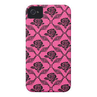 Pink and Black Lacy Floral Case-Mate iPhone 4 Case