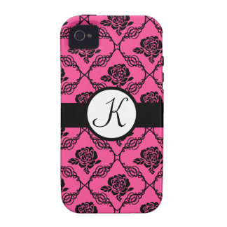 Pink and Black Lacy Floral Monogram iPhone 4/4S Case