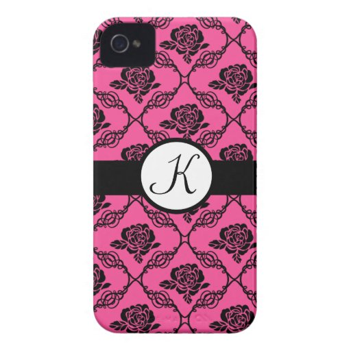 Pink and Black Lacy Floral Monogram Case-Mate iPhone 4 Cases