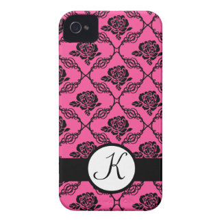 Pink and Black Lacy Floral Monogram Case-Mate iPhone 4 Case