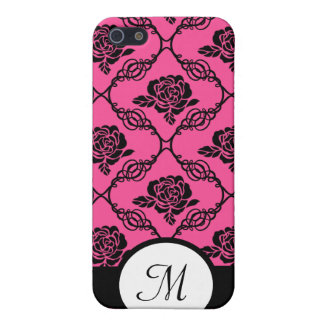 Pink and Black Lacy Floral Monogram Case For The iPhone 5